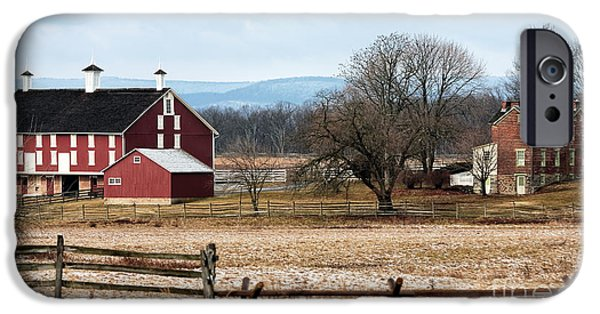 Red School House iPhone Cases - Spanglers Farm iPhone Case by John Rizzuto
