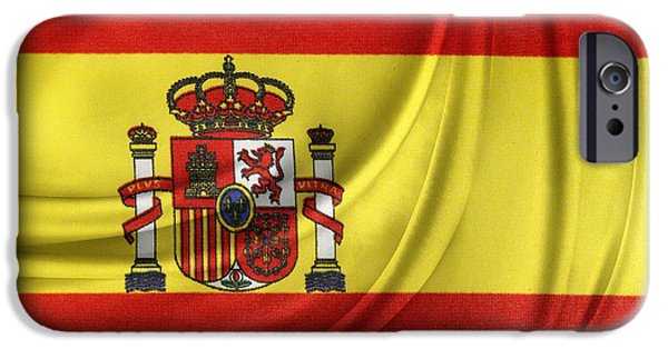 Wavy iPhone Cases - Spanish flag iPhone Case by Les Cunliffe