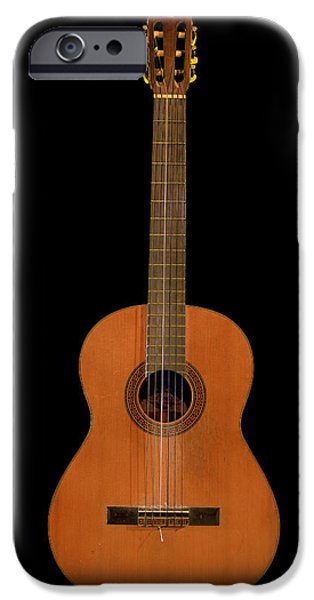 Epiphone Guitar iPhone Cases - Spanish Guitar on Black iPhone Case by Debra and Dave Vanderlaan