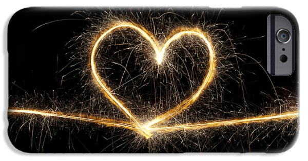 Fireworks Photographs iPhone Cases - Spark of Love iPhone Case by Tim Gainey