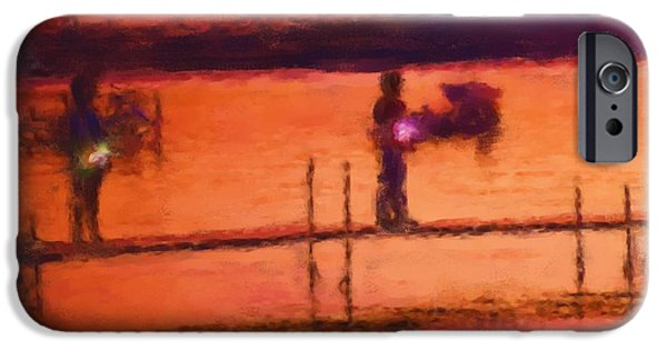 4th July Paintings iPhone Cases - Sparklers At Sunset 1055 20141002 iPhone Case by Julie Knapp