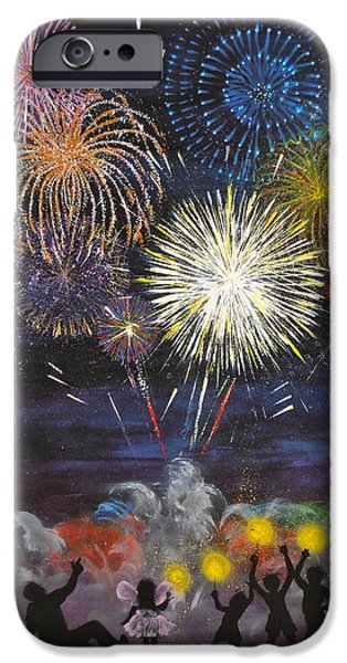 4th July Paintings iPhone Cases - Sparklers iPhone Case by Cynthia Ring