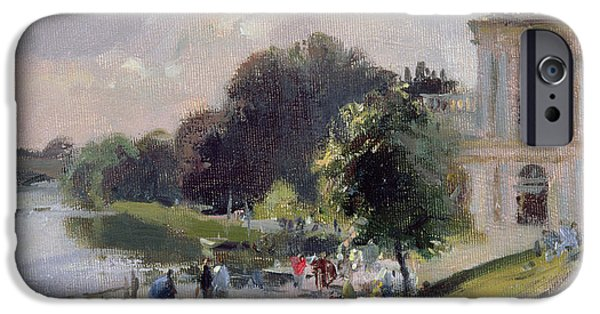 River iPhone Cases - Sparkling Afternoon, Richmond, 1993 Oil On Canvas iPhone Case by Trevor Chamberlain