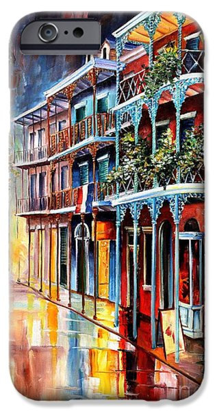 Aqua iPhone Cases - Sparkling French Quarter iPhone Case by Diane Millsap