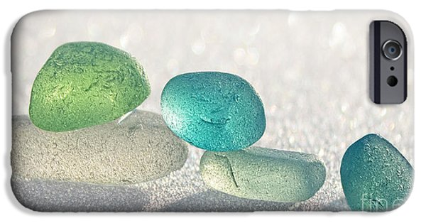 Sea Glass Art iPhone Cases - Sparkling Sea Glass Friends iPhone Case by Barbara McMahon