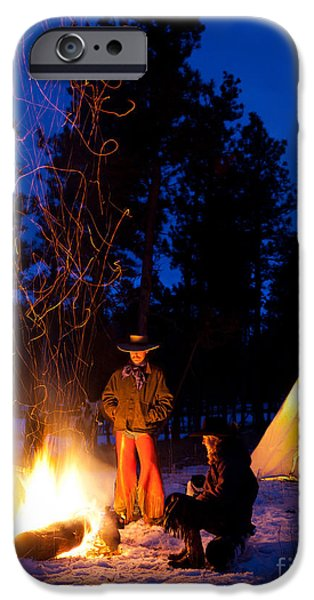 Snowy Evening iPhone Cases - Sparks of Inspiration iPhone Case by Inge Johnsson