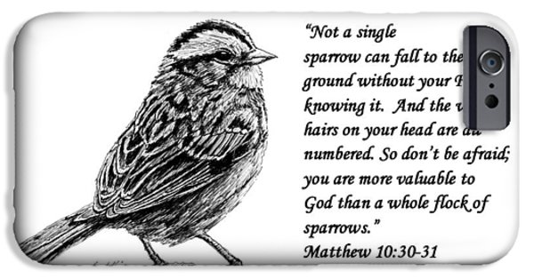Janet King iPhone Cases - Sparrow drawing with scripture iPhone Case by Janet King