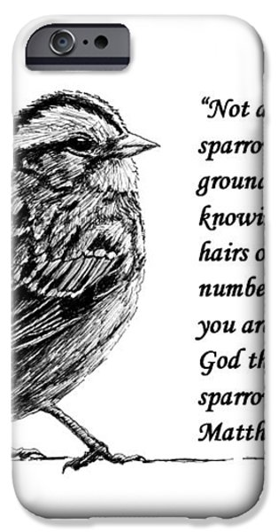 Sparrow drawing with scripture iPhone Case by Janet King