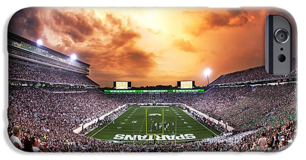 Universities Photographs iPhone Cases - Spartan Stadium iPhone Case by Rey Del Rio