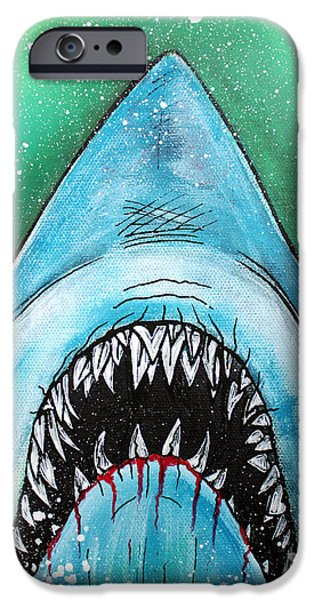 Concept Paintings iPhone Cases - Spawn of Jaws iPhone Case by Laura Barbosa