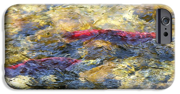 Fish Mixed Media iPhone Cases - Spawning Sockeye Salmon digital oil painting iPhone Case by Sharon  Talson