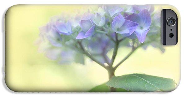 Purple Hydrangeas iPhone Cases - Speak Softly Hydrangea Flower iPhone Case by Jennie Marie Schell