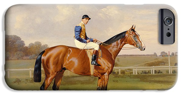 The Horse iPhone Cases - Spearmint Winner of the 1906 Derby iPhone Case by Emil Adam