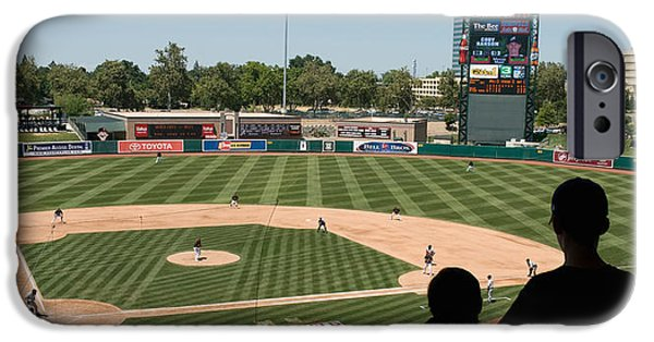 Baseball Parks iPhone Cases - Spectator Watching A Baseball Match iPhone Case by Panoramic Images