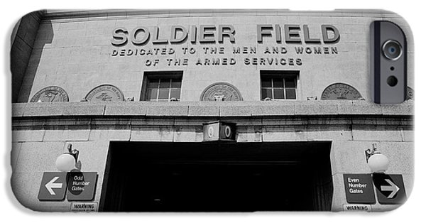 Soldier Field iPhone Cases - Spectators Entering A Football Stadium iPhone Case by Panoramic Images