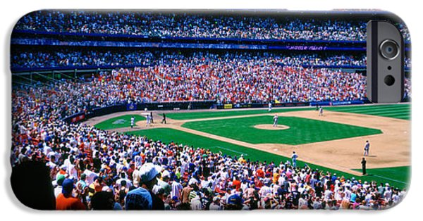 Baseball Stadiums iPhone Cases - Spectators In A Baseball Stadium, Shea iPhone Case by Panoramic Images
