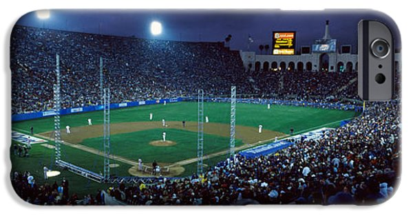 Baseball Stadiums iPhone Cases - Spectators Watching Baseball Match, Los iPhone Case by Panoramic Images