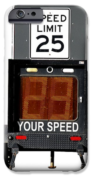 Police Traffic Control iPhone Cases - Speed Limit Monitor iPhone Case by Olivier Le Queinec