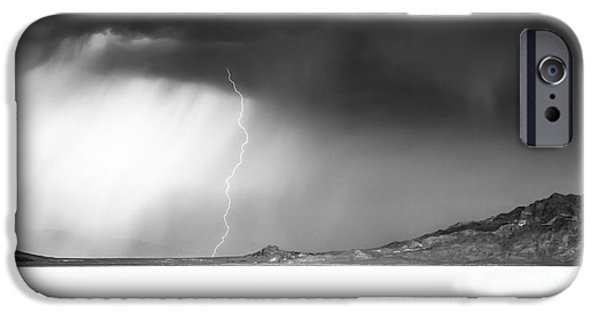 Black And White Landscapes iPhone Cases - Speed Of Light- Bonneville Salt Flats iPhone Case by Holly Martin