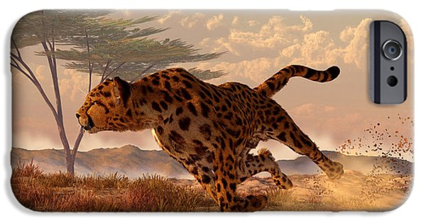 Cheetah Digital Art iPhone Cases - Speeding Cheetah iPhone Case by Daniel Eskridge