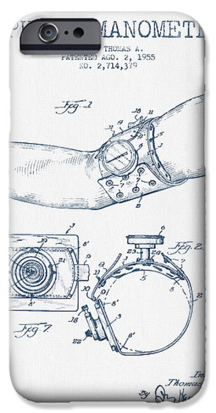 Medical Instrument iPhone Cases - Sphygmomanometer patent drawing from 1955 - Blue Ink iPhone Case by Aged Pixel