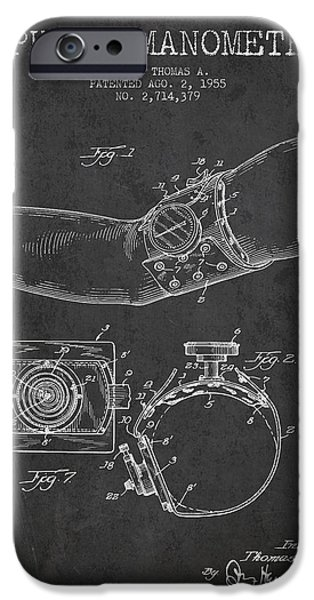 Device iPhone Cases - Sphygmomanometer patent drawing from 1955 - Dark iPhone Case by Aged Pixel