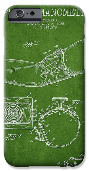 Medical Instrument iPhone Cases - Sphygmomanometer patent drawing from 1955 - Green iPhone Case by Aged Pixel