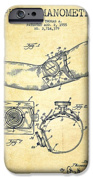Hospital iPhone Cases - Sphygmomanometer patent drawing from 1955 - Vintage iPhone Case by Aged Pixel