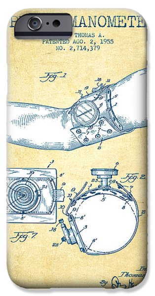Recently Sold -  - Technical iPhone Cases - Sphygmomanometer patent drawing from 1955 - Vintage Paper iPhone Case by Aged Pixel
