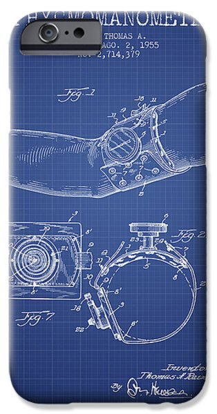 Medical Instrument iPhone Cases - Sphygmomanometer patent from 1955  - Blueprint iPhone Case by Aged Pixel