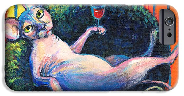 Contemporary Art Drawings iPhone Cases - Sphynx cat relaxing iPhone Case by Svetlana Novikova