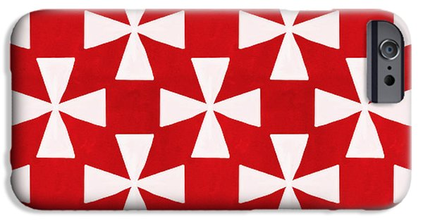 Geometric Shape iPhone Cases - Spice Twirl- Red and White Pattern iPhone Case by Linda Woods