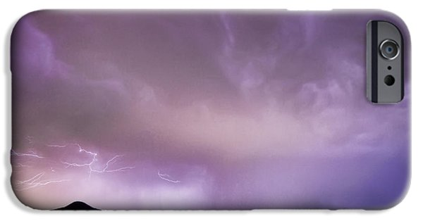 The Lightning Man iPhone Cases - Spider Lightning Above Haystack Boulder Colorado iPhone Case by James BO  Insogna