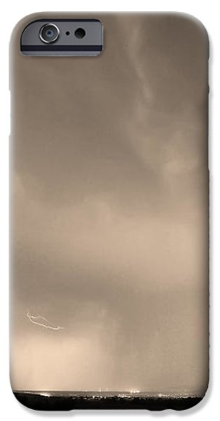 Spider Lightning Above Haystack Boulder Colorado Sepia iPhone Case by James BO  Insogna