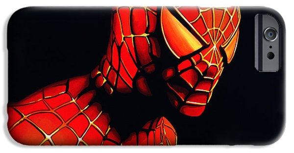Idol Paintings iPhone Cases - Spider-Man iPhone Case by Paul Meijering