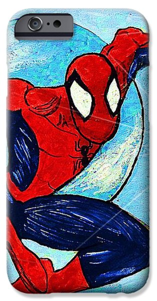 Spiderman Out of the Blue 2 iPhone Case by Saundra Myles