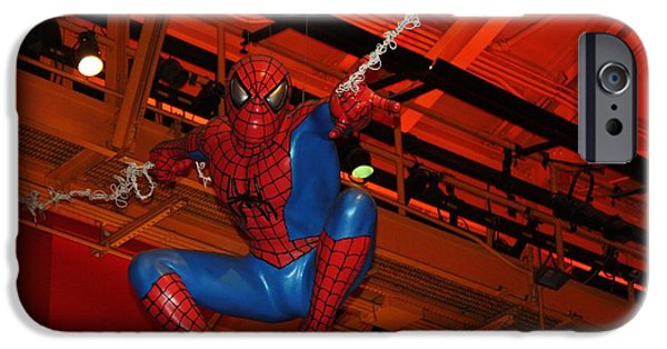 Toy Store iPhone Cases - Spiderman Swinging Through the Air iPhone Case by John Telfer