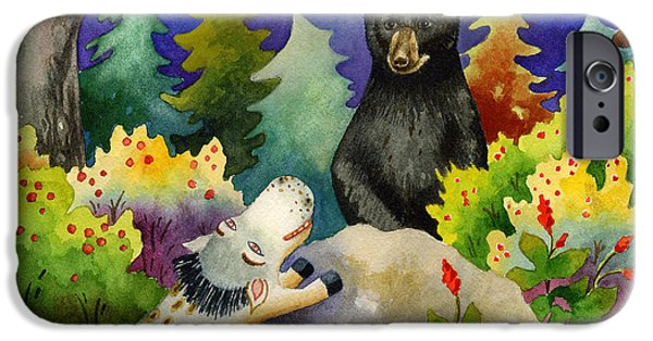Bear Cub iPhone Cases - Spike the Dhog Encounters a Mother Bear in the Forest iPhone Case by Anne Gifford