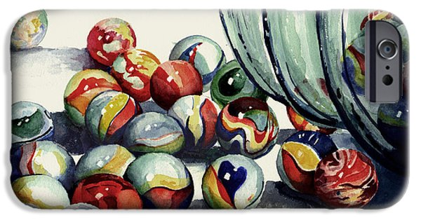 Sphere Paintings iPhone Cases - Spilled Marbles iPhone Case by Sam Sidders
