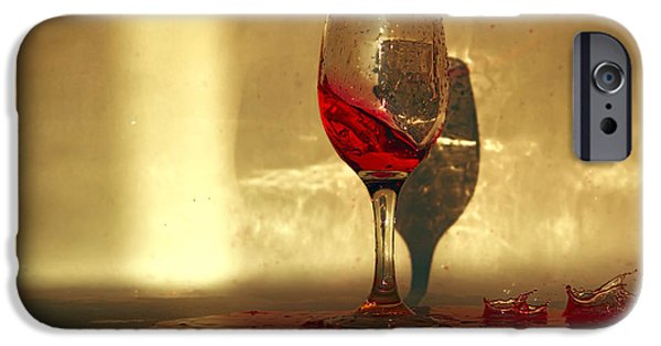 Red Wine Pyrography iPhone Cases - Spilled Red Wine iPhone Case by Radivoj  Cvetojevic