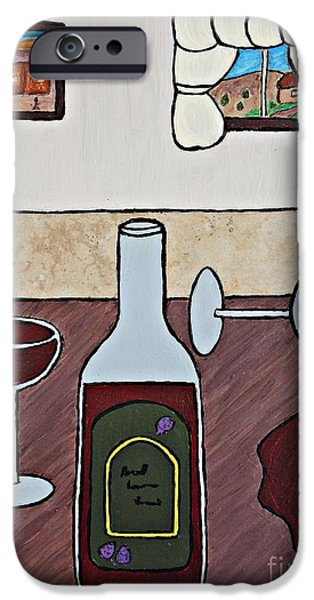 Wine Bottles Ceramics iPhone Cases - Essence of Home - Spilt Glass of Wine iPhone Case by Sheryl Young