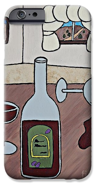 Wine Bottle Ceramics iPhone Cases - Essence of Home - Spilt Wine iPhone Case by Sheryl Young