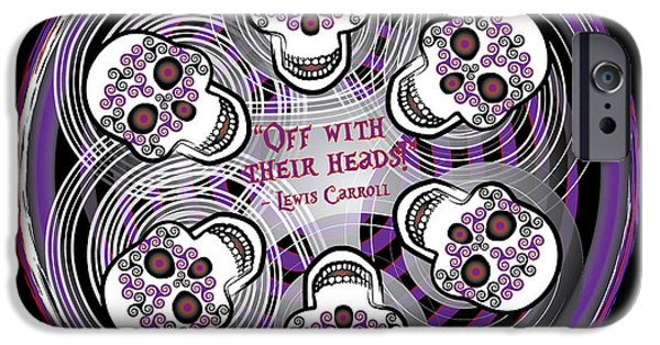 Celtic Spiral iPhone Cases - Spinning Celtic Skulls in Purple iPhone Case by Celtic Artist Angela Dawn MacKay