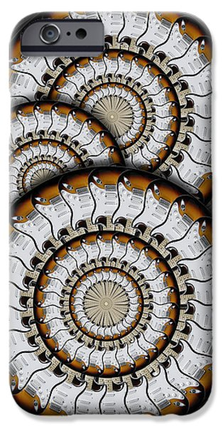 Strings Digital iPhone Cases - Spinning Guitars 3  iPhone Case by Mike McGlothlen