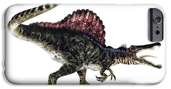 Northern Africa iPhone Cases - Spinosaurus Dinosaur, Artwork iPhone Case by Animate4.com Ltd.
