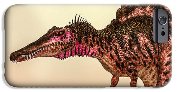 Bob Orsillo Digital Art iPhone Cases - Spinosaurus Dinosaur iPhone Case by Bob Orsillo