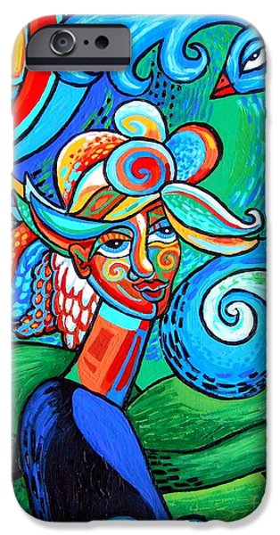 Genevieve Esson iPhone Cases - Spiral Bird Lady iPhone Case by Genevieve Esson
