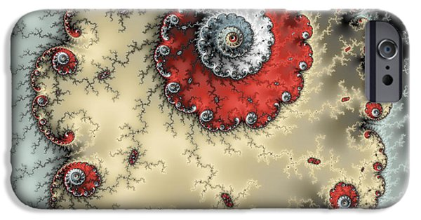 Abstract Digital Photographs iPhone Cases - Spiral - fractal artwork in yellow gray and red iPhone Case by Matthias Hauser