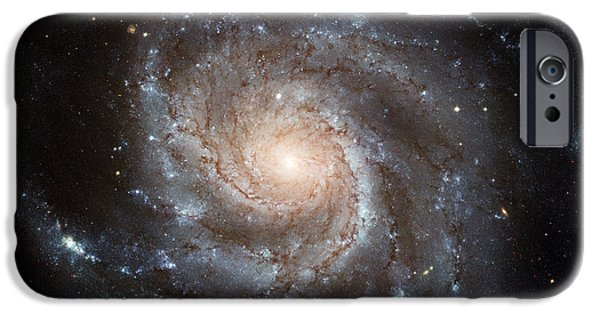 Galactic Paintings iPhone Cases - Spiral Galaxy M101 iPhone Case by Nasa