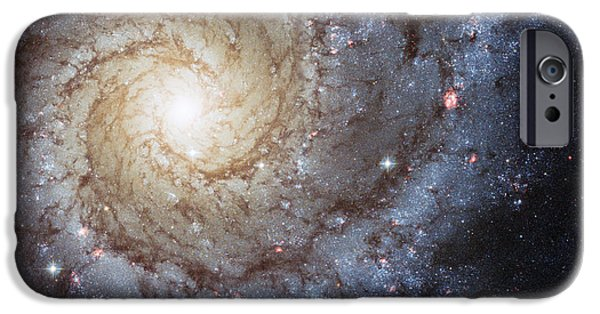 Nature Abstract iPhone Cases - Spiral Galaxy M74 iPhone Case by Adam Romanowicz